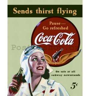 Plechová cedule - Coca-Cola (send thirst flying)