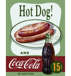 Plechová cedule - Coca-Cola and Hot Dog
