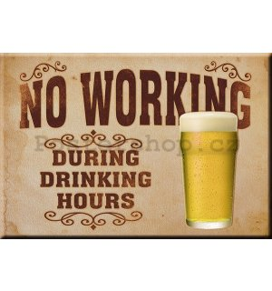 Plechová cedule - No Working (During Drinking Hours)