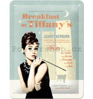 Plechová cedule – Breakfast at Tiffanys Blue