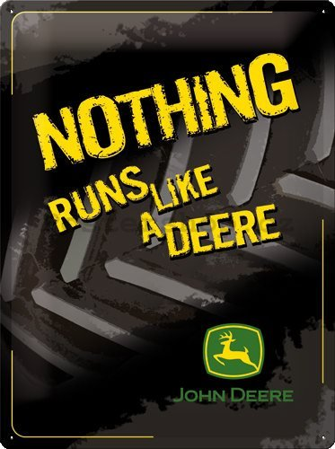 Plechová cedule – John Deere Nothing Runs Like Black