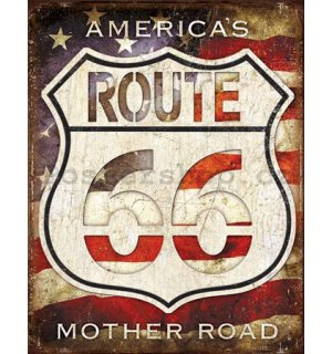 Plechová cedule - Route 66 (America's Mother Road)
