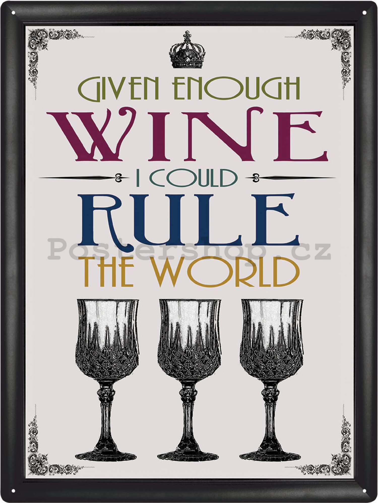 Plechová cedule - Wine rule the World