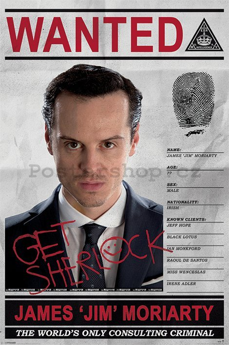 Plakát - Sherlock (Moriarty Wanted)