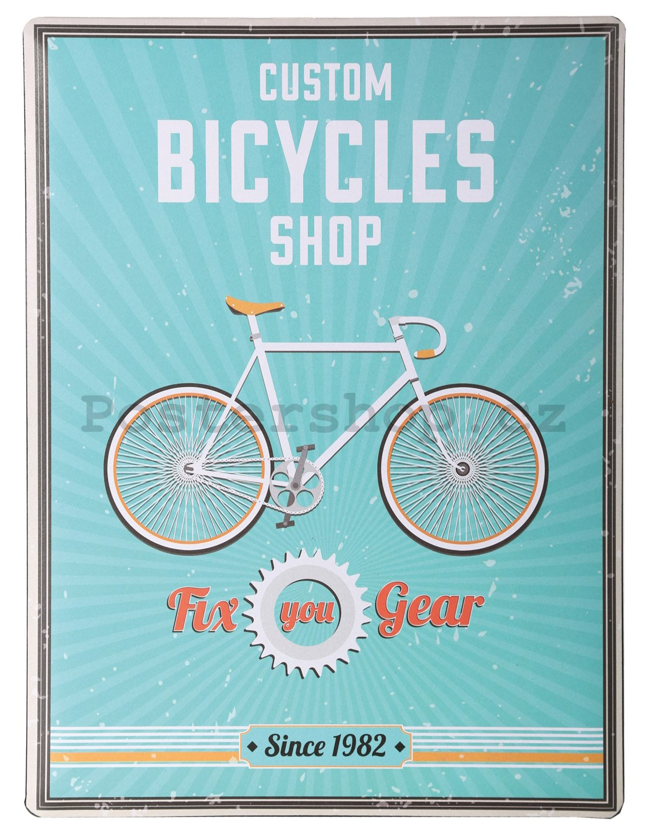 Plechová cedule - Custom Bicycles Shop