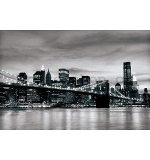 Fototapeta: Brooklyn Bridge (černobílý) - 254x368 cm