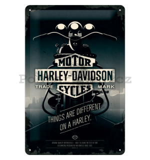 Plechová cedule - Harley-Davidson (Things Are Different on a Bike)