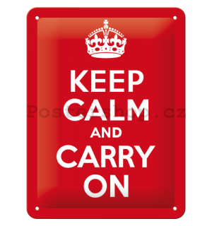 Plechová cedule: Keep Calm and Carry On - 20x15 cm