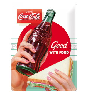 Plechová cedule - Coca-Cola (Good with Food)