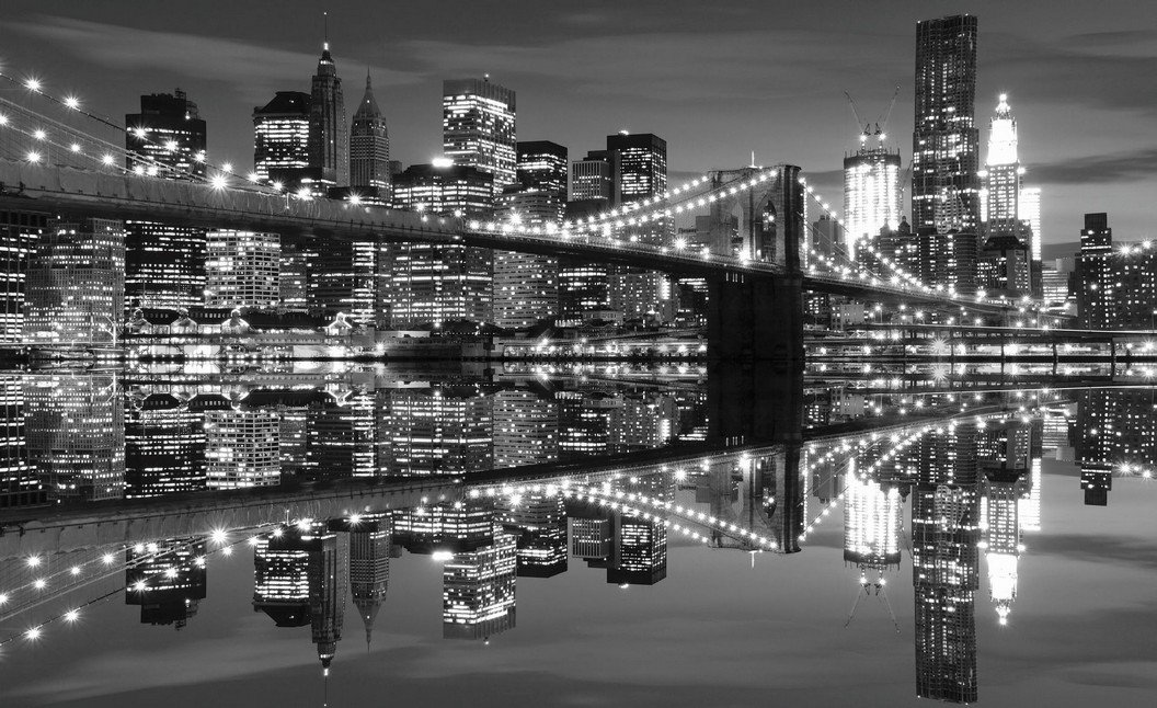 Fototapeta - Černobílý Brooklyn Bridge (3)
