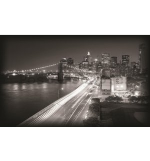 Fototapeta: Černobílý Brooklyn Bridge (1) - 184x254 cm