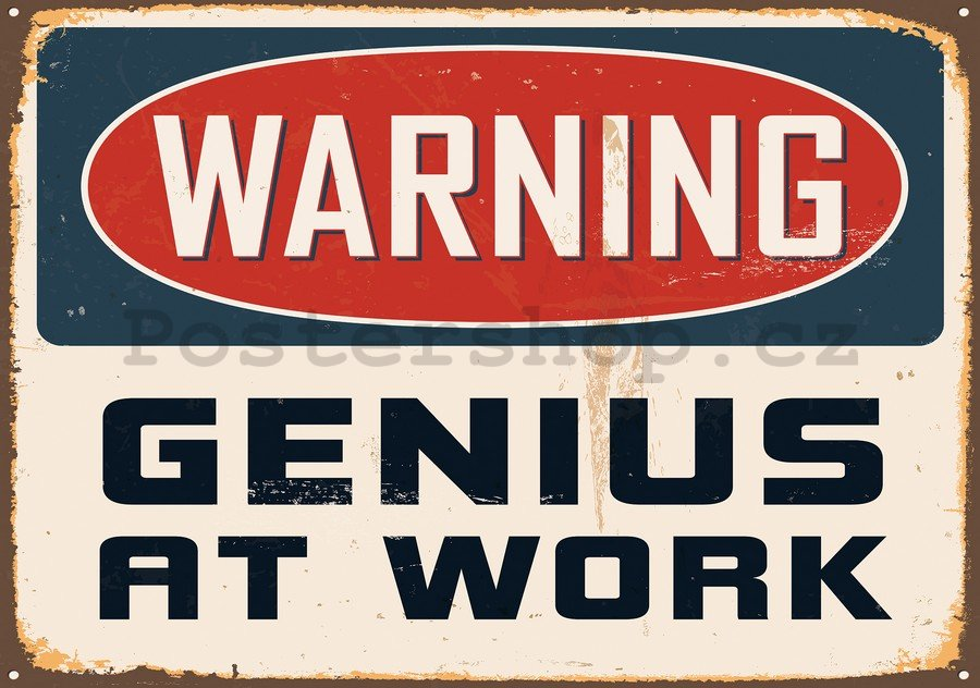 Fototapeta: Warning Genius at Work - 254x368 cm