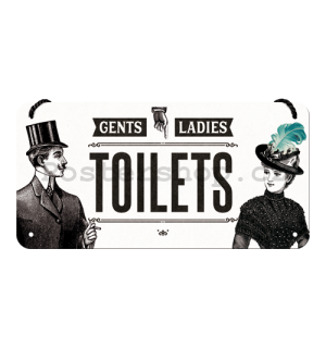 Závěsná cedule: Gents and Ladies Toilets - 10x20 cm