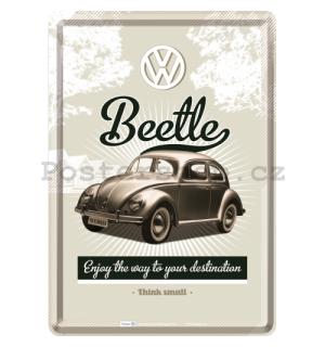 Plechová pohlednice - VW Beetle (Enjoy the Way to Yors Destination)