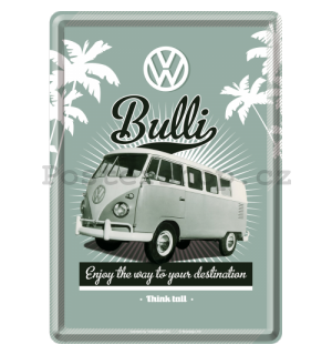 Plechová pohlednice - VW Bulli (Enjoy the Way to Yours Destination)