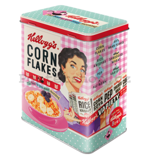 Plechová dóza L - Kellogg's Happy Hostess Corn Flakes