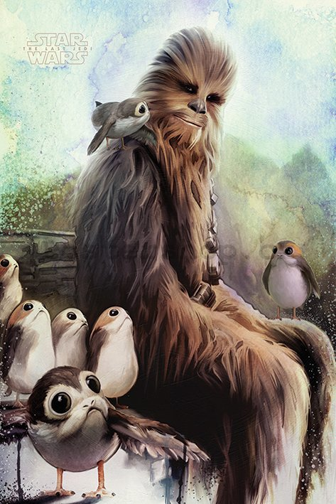 Plakát - Star Wars The Last Jedi (Chewbacca & Porgs)