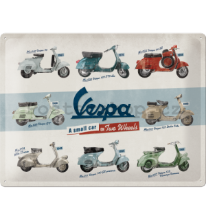 Plechová cedule: Vespa (A Small Car on Two Wheels) - 40x30 cm