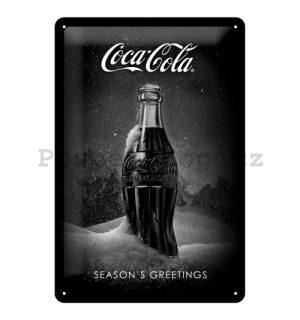 Plechová cedule: Coca-Cola Black Special Edition (Season's Greetings) - 30x20 cm