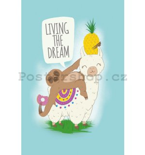 Plakát - Living the Dream (Llama nad Sloth)
