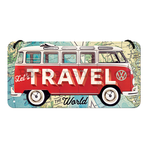 Závěsná cedule: VW Bulli (Let's Travel The World) - 10x20 cm