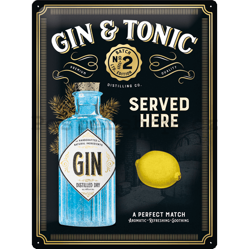 Plechová cedule: Gin & Tonic Served Here (Special Edition) - 40x30 cm