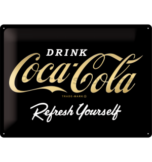 Plechová cedule: Coca-Cola Refresh Yourself (Special Black Edition) - 30x40 cm