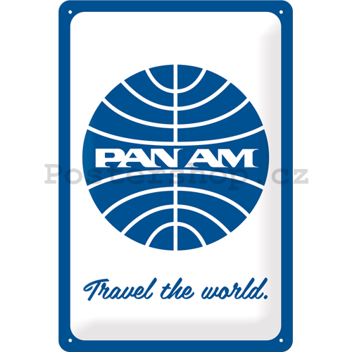 Plechová cedule: Pan Am (Travel the world) - 30x20 cm