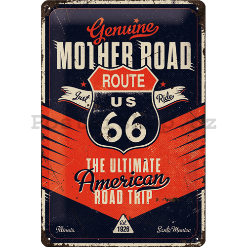 Plechová cedule: Route 66 (The Ultimate Road Trip) - 20x30 cm