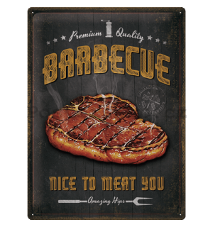 Plechová cedule: Barbecue Nice To Meat You - 40x30 cm