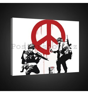 Obraz na plátně: Make Peace, not War (graffiti) - 75x100 cm