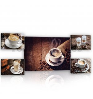 Obraz na plátně: Coffee break - set 1ks 70x50 cm a 4ks 32,4x22,8 cm