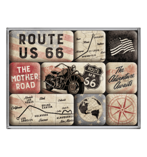 Sada magnetů - Route 66 Bike Map