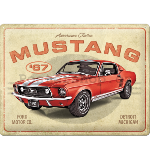 Plechová cedule: Ford Mustang GT 1967 Red - 40x30 cm