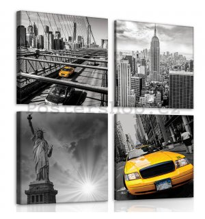 Obraz na plátně: New York (1) - set 4ks 25x25cm