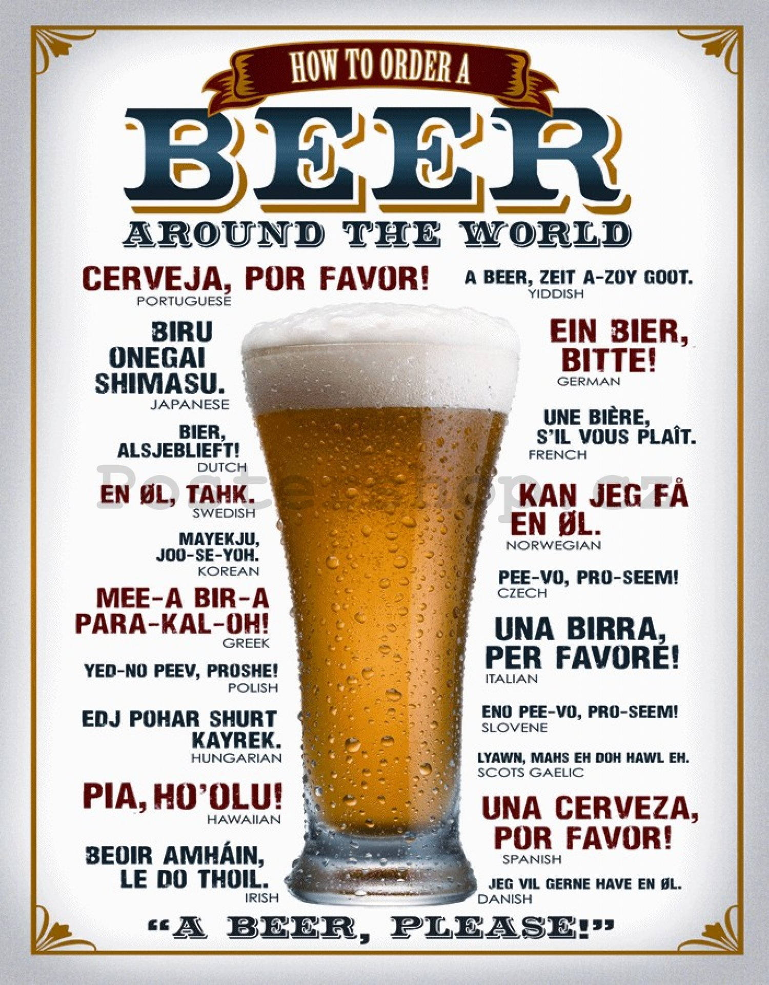Plechová cedule - Beer (around the world)